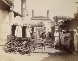 A ratha or four-wheeled carriage in the street in Anhilvad-Pattan (Patan)
